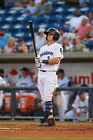 Pensacola Blue Wahoos Shrimp left fielder TJ Friedl (3) at bat during a game against the Jacksonville Jumbo on August 15, 2018 at Blue Wahoos Stadium in Pensacola, Florida.  Jacksonville defeated Pensacola 9-2.  (Mike Janes/Four Seam Images)