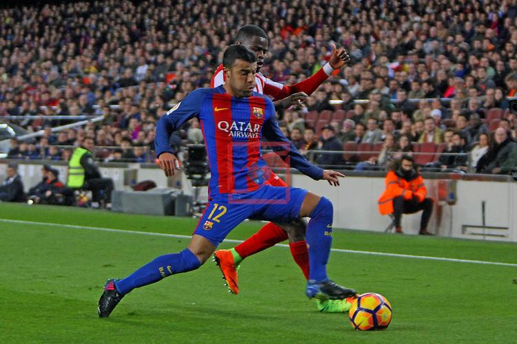 League Santander 2016/2017. Game: 25.<br /> FC Barcelona vs Real Sporting SAD: 6-1.<br /> Rafinha vs Echiejile.