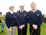 Captain Joseph O'Toole and Lady Captain Kathleen Moore pictured with club professional Bobby Browne at the Captain's Drive In at Laytown and Bettystown golf club. Photo: Colin Bell/pressphotos.ie