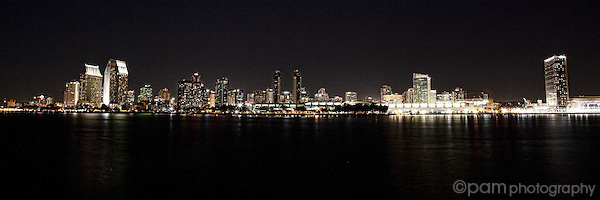 Black and white panoramic of San Diego skyline at night