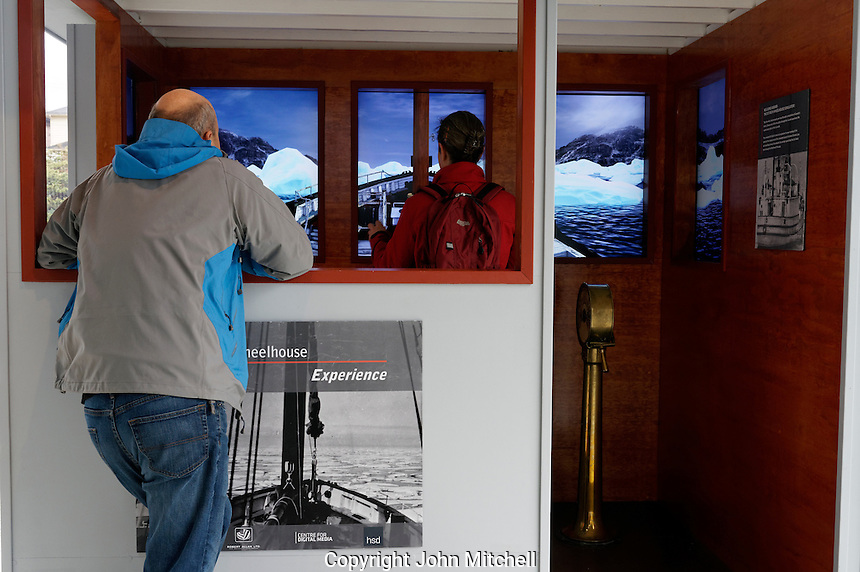 Visitors  RCMP St. Roch  Wheelhouse Experience interactive display, Vancouver Maritime Museum, Vancouver, BC, Canada