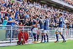 Stockholm 2014-08-31 Fotboll Allsvenskan Djurg&aring;rdens IF - Malm&ouml; FF :  <br /> Djurg&aring;rdens Haris Radetinac  jublar med publik och lagkamrater efter sitt 1-0 m&aring;l<br /> (Foto: Kenta J&ouml;nsson) Nyckelord:  Djurg&aring;rden DIF Tele2 Arena Malm&ouml; MFF jubel gl&auml;dje lycka glad happy