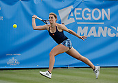 June 13th 2017, The Northern Lawn tennis Club, Manchester, England; ITF Womens tennis tournament; Katy Dunne (GBR) hits a forehand during her first round singles match against Katie Swan (GBR); Dunne won in three sets