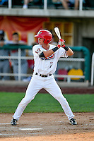 Sam McDonnell (7) of the Orem Owlz at bat against the Billings Mustangs in Pioneer League action at Home of the Owlz on July 25, 2016 in Orem, Utah. Orem defeated Billings 6-5. (Stephen Smith/Four Seam Images)