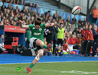 Ireland's Nora Stapleton attempts her sides second conversion <br /> <br /> Photographer Ian Cook/CameraSport<br /> <br /> Women's Six Nations Round 4 - Wales Women v Ireland Women - Saturday 11th March 2017 - Cardiff Arms Park - Cardiff<br /> <br /> World Copyright &copy; 2017 CameraSport. All rights reserved. 43 Linden Ave. Countesthorpe. Leicester. England. LE8 5PG - Tel: +44 (0) 116 277 4147 - admin@camerasport.com - www.camerasport.com