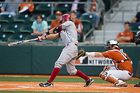 Oklahoma Sooners shortstop Jack Mayfield #8 AAA Texas Longhorns in the NCAA baseball game on April 5, 2013 at UFCU DischFalk Field in Austin Texas. Oklahoma defeated Texas 2-1. (Andrew Woolley/Four Seam Images).