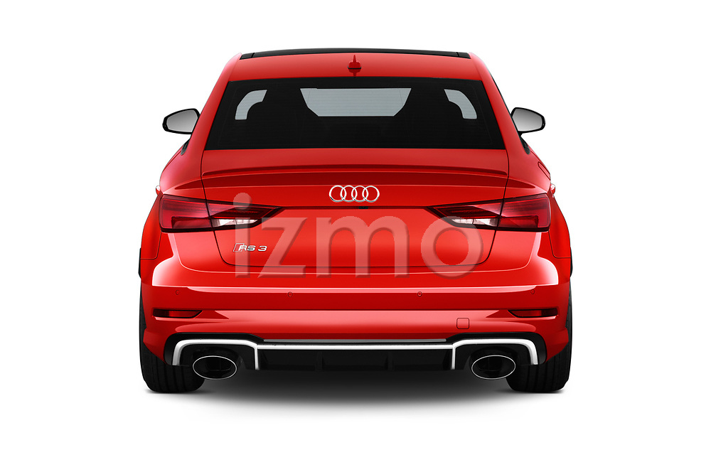 Straight rear view of 2019 Audi RS-3 - 4 Door Sedan Rear View  stock images
