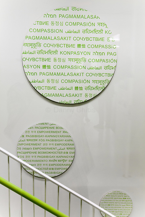 "The new Diane Max Health Center of Planned Parenthood in Long Island City designed by architect Stephen Yablon. <br /> <br /> Graphics spelling out words like ""compassion"" and ""empowerment"" in many languages adorn the staircases. <br /> <br /> <br /> Danny Ghitis for The New York Times"