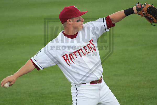 APPLETON - MAY 2011: T.J. Mittelstaedt (6) of the Wisconsin Timber Rattlers, Class-A affiliate of the Milwaukee Brewers, during a game on May 23, 2011 at Fox Cities Stadium in Appleton, Wisconsin. (Photo by Brad Krause) ........