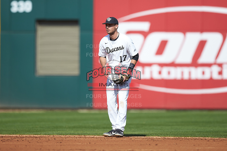 Wake Forest Demon Deacons shortstop Bruce Steel (17) on defense against the Furman Paladins at BB&T BallPark on March 2, 2019 in Charlotte, North Carolina. The Demon Deacons defeated the Paladins 13-7. (Brian Westerholt/Four Seam Images)
