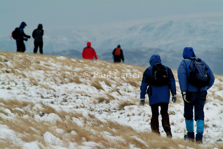 Group of walkers trudge through snow covered hills. The Lake District. Walk from the cottage over Matterdale Common towards Great Dodd.