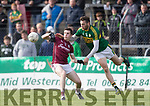 Kerry's Matthew O'Sullivan and Galway's Cein D'Arcy  in action during the Kerry V Galway Under 21 Football Championship semi final at Cusack Park, Ennis on Sunday. Photograph by Eamon Ward