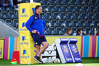 Bath Rugby Head Coach Tabai Matson looks on during the pre-match warm-up. Aviva Premiership match, between Leicester Tigers and Bath Rugby on September 25, 2016 at Welford Road in Leicester, England. Photo by: Patrick Khachfe / Onside Images