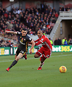 5th November 2017, Riverside Stadium, Middlesbrough, England; EFL Championship football, Middlesbrough versus Sunderland; George Honeyman of Sunderland turns inside Martin Braithwaite of Middlesbrough in the second half of the 1-0 loss