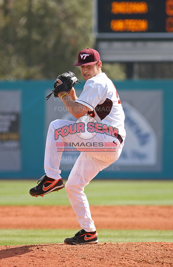 Ronnie Shaban #29 of the Virginia Tech Hokies pitching during a game against the University of Indiana Hoosiers at Watson Stadium at Vrooman Field in Conway, South Carolina on February 18, 2011. Photo by Robert Gurganus/Four Seam Images
