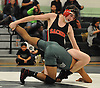 Jon Faulkner of Sachem East, top, gets an advantage on Steve Gutierrez of Brentwood during a Suffolk County varsity wrestling meet at Brentwood High School on Friday, Jan. 8, 2016. Faulkner won the 138 pound match by decision 9-4 to clinch the meet for Sachem East, who defeated Brentwood by a score of 34-17.