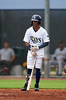 GCL Rays Daiwer Castellanos (5) at bat during a Gulf Coast League game against the GCL Pirates on August 7, 2019 at Charlotte Sports Park in Port Charlotte, Florida.  GCL Rays defeated the GCL Pirates 4-1 in the first game of a doubleheader.  (Mike Janes/Four Seam Images)