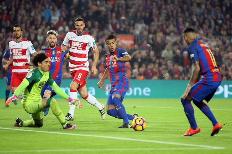 League Santander 2016/2017. Game: 10.<br /> FC Barcelona vs Granada CF: 1-0.<br /> Guillermo Ochoa, Rafinha &amp; Neymar Jr.