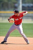 Boston Red Sox Nick Longhi (30) during practice before a minor league spring training game against the Baltimore Orioles on March 20, 2015 at Buck O'Neil Complex in Sarasota, Florida.  (Mike Janes/Four Seam Images)