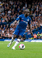 N'Golo Kante of Chelsea during the Premier League match between Chelsea and Liverpool at Stamford Bridge, London, England on 22 September 2019. Photo by Liam McAvoy / PRiME Media Images.