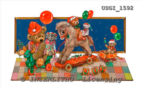 GIORDANO, CHRISTMAS ANIMALS, WEIHNACHTEN TIERE, NAVIDAD ANIMALES, Teddies, paintings+++++,USGI1592,#XA#