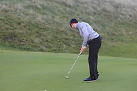 Sean Downes (Royal Dublin) on the 17th green during Round 2 of the Ulster Boys Championship at Portrush Golf Club, Portrush, Co. Antrim on the Valley course on Wednesday 31st Oct 2018.<br /> Picture:  Thos Caffrey / www.golffile.ie<br /> <br /> All photo usage must carry mandatory copyright credit (&copy; Golffile | Thos Caffrey)