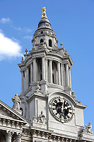 South East bell tower, St Paul's Cathedral, 1675 - 1710, architect Sir Christopher Wren; statue of St James with book in left hand on the right, London, England, UK Picture by Manuel Cohen