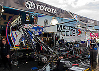 May 17, 2014; Commerce, GA, USA; The pit area of NHRA top fuel dragster Antron Brown during qualifying for the Southern Nationals at Atlanta Dragway. Mandatory Credit: Mark J. Rebilas-USA TODAY Sports