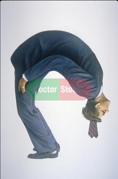 man bending over backwards