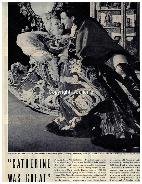 """BNPS.co.uk (01202 558833)<br /> Pic:  Julien's/BNPS<br /> <br /> A vintage magazine tear sheet featuring West in the tiara she wore as Catherine II of Russia in the 1944-1945 Controversial production 'Catherine Was Great'.<br /> <br /> A selection of trailblazing 1930s starlet Mae West's most recognisable film costumes have emerged for sale for £320,000. ($400,000)<br /> <br /> The auction features the actress and screenwriter's gowns, headdresses and tiaras, as well as props from her films and her scripts.<br /> <br /> West, a New York native, was the Marilyn Monroe of her era, earning a 'bad girl' reputation for starring in risque productions.<br /> <br /> She famously coined the phrase: """"When I'm good, I'm very good, but when I'm bad, I'm better."""""""