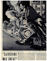 "BNPS.co.uk (01202 558833)<br /> Pic:  Julien's/BNPS<br /> <br /> A vintage magazine tear sheet featuring West in the tiara she wore as Catherine II of Russia in the 1944-1945 Controversial production 'Catherine Was Great'.<br /> <br /> A selection of trailblazing 1930s starlet Mae West's most recognisable film costumes have emerged for sale for £320,000. ($400,000)<br /> <br /> The auction features the actress and screenwriter's gowns, headdresses and tiaras, as well as props from her films and her scripts.<br /> <br /> West, a New York native, was the Marilyn Monroe of her era, earning a 'bad girl' reputation for starring in risque productions.<br /> <br /> She famously coined the phrase: ""When I'm good, I'm very good, but when I'm bad, I'm better."""