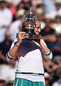 June 10th 2017, Roland Garros, paris, France. French Open tennis tournament, womens singles final, Jelena Ostapenko (lat) versus Simona Halep (Rom); Jelena Ostapenko (lat) holds her winners trophy