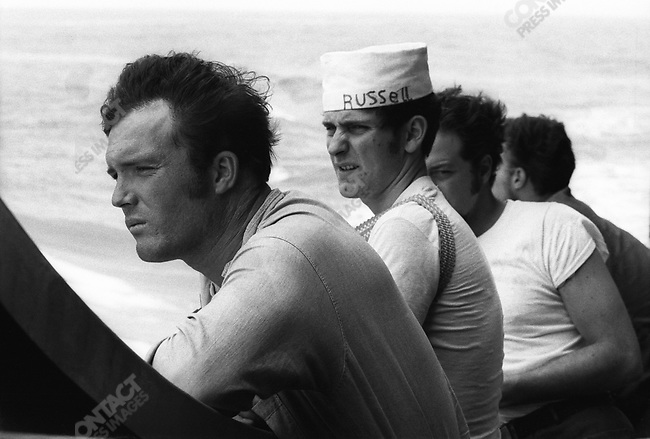 Sailors aboard a US Navy destroyer off the coast of the DMZ, separating North and South Vietnam, March 1972