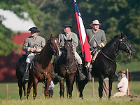 NWA Democrat-Gazette/BEN GOFF @NWABENGOFF<br /> Confederate States of America soldiers take the field on Friday Sept. 25, 2015 during the Battle of Pea Ridge Civil War reenactment at Webb Farm near Pea Ridge. The event continues with battle reenactments at 2:00p.m. on Saturday and at 11:00a.m. Sunday.