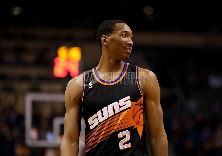 Feb. 10, 2013; Phoenix, AZ, USA: Phoenix Suns small forward Wesley Johnson against the Oklahoma City Thunder at the US Airways Center. Mandatory Credit: Mark J. Rebilas-