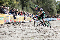 eventual race winner Maud Kaptheijns (NED/Crelan-Charles) tackling the sand section<br /> <br /> cx Telenet Superprestige Gieten 2017 (NED)