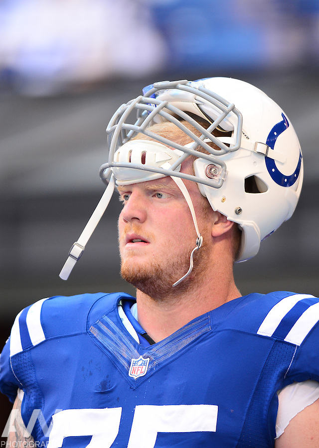 Sep 28, 2014; Indianapolis, IN, USA; Indianapolis Colts guard Jack Mewhort (75) against the Tennessee Titans at Lucas Oil Stadium. Mandatory Credit: Andrew Weber-USA TODAY Sports