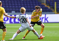 20190810 - ANDERLECHT, BELGIUM : Anderlecht's Charlotte Tison  pictured defending on LSK's Isabelle Bachor (richt) during the female soccer game between the Belgian RSCA Ladies – Royal Sporting Club Anderlecht Dames  and the Norwegian LSK Kvinner Fotballklubb ladies , the second game for both teams in the Uefa Womens Champions League Qualifying round in group 8 , saturday 10 th August 2019 at the Lotto Park Stadium in Anderlecht  , Belgium  .  PHOTO SPORTPIX.BE for NTB NO | DAVID CATRY