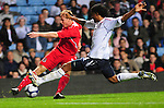 Simon Church gets a cross in while under pressure from Micheal Mancienne. England U21 V Wales U21, Uefa European U21 Championship qualifying play-off second leg  © Ian Cook IJC Photography iancook@ijcphotography.co.uk www.ijcphotography.co.ukUnholy Alliance Tour 2008,