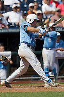 North Carolina catcher Brian Holberton (10) swings the bat during Game 3 of the 2013 Men's College World Series against the North Carolina State Wolfpack at TD Ameritrade Park on June 16, 2013 in Omaha, Nebraska. The Wolfpack defeated the Tar Heels 8-1. (Andrew Woolley/Four Seam Images)