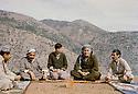 Iraq 1982 .In Nawzang, near Zahle, from left to right, Jalal Talabani, Salah Moutedi, Hatige Yachar, Omar Dababa and Yusuf Zozane from Syria  .Irak 1982 .A Nawzang, pres de Zahle, de gauche a droite, Jalal Talabani, Salah Moutedi, Hatige Yachar, Omar Dababa et Yusuf Zozane de Syrie