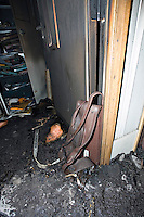 Fire door severely damaged in school fire UK..©shoutpictures.com..john@shoutpictures.com