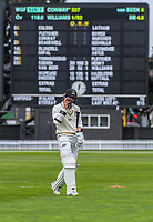 Devon Conway walks off after scoring a record 327 during day two of the Plunket Shield cricket match between the Wellington Firebirds and Canterbury at Basin Reserve in Wellington, New Zealand on Wednesday, 30 October 2019. Photo: Dave Lintott / lintottphoto.co.nz