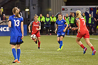 Portland, OR - Saturday May 06, 2017: Meghan Klingenberg, Nahomi Kawasumi during a regular season National Women's Soccer League (NWSL) match between the Portland Thorns FC and the Seattle Reign FC at Providence Park.