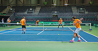 Switserland, Genève, September 16, 2015, Tennis,   Davis Cup, Switserland-Netherlands, Practise Dutch team, <br /> Photo: Tennisimages/Henk Koster