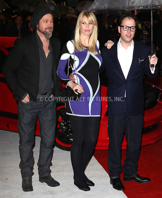 WWW.ACEPIXS.COM . . . . .  ..... . . . . US SALES ONLY . . . . .....March 22 2010, London....US actor and producer Brad Pitt, German model and actor Claudia Schiffer and director Matthew Vaughn arriving at the European premiere of the new movie 'Kick-Ass' in London on March 22, 2010.....Please byline: FAMOUS-ACE PICTURES... . . . .  ....Ace Pictures, Inc:  ..tel: (212) 243 8787 or (646) 769 0430..e-mail: info@acepixs.com..web: http://www.acepixs.com