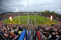A general view of the Bath Rugby team running out onto the field. Aviva Premiership match, between Bath Rugby and London Irish on April 24, 2015 at the Recreation Ground in Bath, England. Photo by: Patrick Khachfe / Onside Images