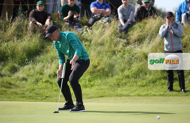 Paul Dunne (IRL) narrowly misses the winner on the 13th during Sunday morning Foursome matches of The Walker Cup 2015 played at Royal Lytham and St Anne's, Lytham St Anne's, Lancashire, England. 13/09/2015. Picture: Golffile | David Lloyd<br /> <br /> All photos usage must carry mandatory copyright credit (&copy; Golffile | David Lloyd)