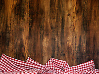 Wood background and checkers table cloth