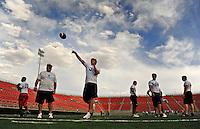 Jun. 13, 2009; Las Vegas, NV, USA; Ken Dorsey throws a pass during the United Football League workout at Sam Boyd Stadium. Mandatory Credit: Mark J. Rebilas-